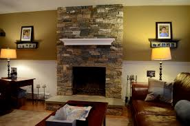 decorations interior flat tv installed on stone fireplace with awesome river rock for living room decoration ideas inspiration contemporary