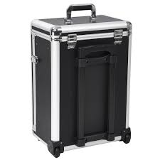 Luggage With Drawers Pro 14 Rolling Travel Makeup Case Jewelry Drawers Aluminum Black