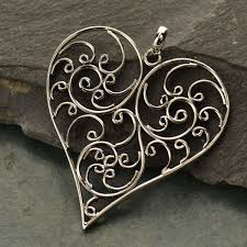 sterling silver balinese filigree heart pendant