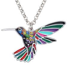 details about enamel alloy hummingbird bird necklace pendant jewelry for women kid charm gifts