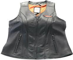 womens harley davidson leather vest 1w xl black orange classica pockets zip bar