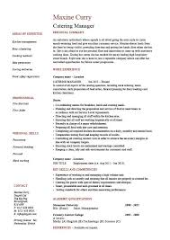 Catering Job Description For Resume Catering Manager Cv Template Food Preparation Job