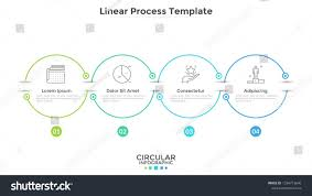 Startup Timeline Template Horizontal Timeline With 4 Round Linear Elements Connected