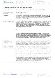 Example Of An Agreement Agreement Between Owner And Contractor Sample Pdf Template