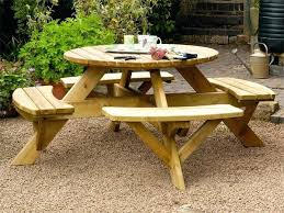 picnic table round this round picnic table seats up to 8 people comfortably on its 4 picnic table round