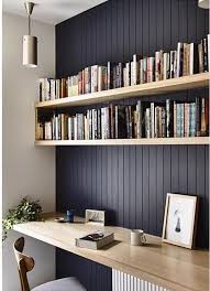 office wall shelving. Dark Feature Wall With Natural Wood Shelving To Highlight. Beadboard Panelling. #officedesignsinspiration Office E