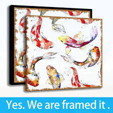 low s painting wall art living room decor hd print animal goldfish on canvas framed free