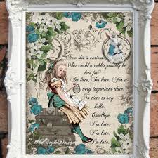alice in wonderland quote art print alice in wonderland decorati on alice in wonderland framed wall art with shop alice in wonderland party decor on wanelo