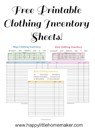 Clothing Inventory Spreadsheet Free Printable Clothing Inventory Sheets 2017 Printable Planners