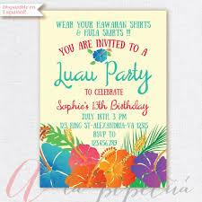 Luau Invitation Birthday Party Hawaiian Party Invitation Etsy