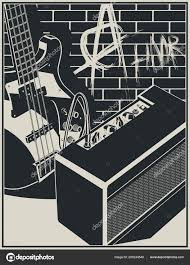 stylized vector ilration of an electric guitar and guitar amplifier on a brick wall with graffiti background vector by blacklight trace