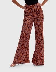 Orange and Blue <b>Leopard Print</b> Wide-Leg <b>High</b>-<b>Waist</b> Satin Trousers ...