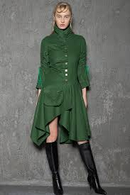 wool designer coat unique modern green asymmetrical knee length winter jacket woman s coat with