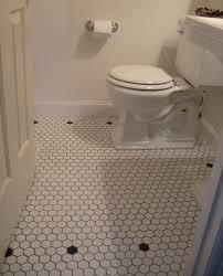 vintage style powder room white mosaic floor tilestraditional bathroom portland