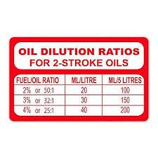 oil petrol mix ratio 2 stroke sticker