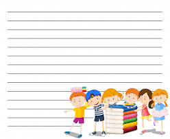 line paper template with kids reading book background free vector