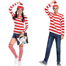 Delightful Adults Mens Ladies Wally Wenda Waldo Character Costume Red White Outfit  Book Week Fancy Dress Shirt Hat Glasses Good Halloween Costumes For Groups  Unique ...