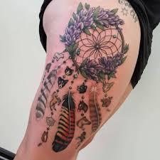 Beautiful Dream Catcher Tattoos Beautiful Dreamcatcher Tattoo On Right Thigh 32