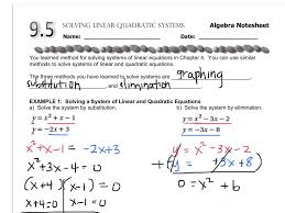 algebra 9 5 solving linear quadratic systems