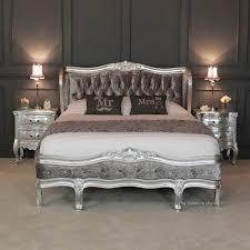 Silver Painted Bedroom Furniture Bed Goals French Silver Leaf 5ft King Size Velvet Upholstered