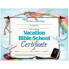 Vbs Certificate Template Vacation Bible School Set Of 30 Certificates