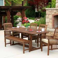 outdoor dining table and chairs. Boardwalk 6-Piece Dark Brown Acacia Outdoor Dining Set With Cushions Outdoor Dining Table And Chairs E