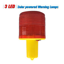 Led Tower Obstruction Lights 3pcs Leds Red Solar Powered Warning Lamps Obstruction Lamp Beacon Light Traffic Warning Lights Tower Crane Warning Light