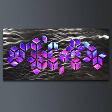 impulse large 46 x22 abstract geometric design metal wall art with led infused color changing lighting remote control on abstract geometric metal wall art with impulse large 46 x22 abstract geometric design metal wall art with