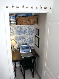 closet office space. Closet Office Ideas Lovable Rattan Basket On White Floating Shelf And Black Wood Laptop Desk Space