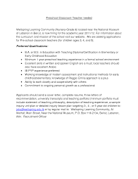 Collection Of Solutions Nursery School Teacher Cover Letter Sample
