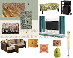 green blue and brown living room mood board