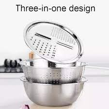Bộ 3 rổ inox] Bộ dụng cụ nạo rau củ đa năng, rổ chậu inox nhà bếp xuất nhật  - Bộ rổ chậu nhà bếp inox 3 món hình tròn