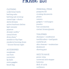 Packing List For Vacation Template Free Packing Lists For All Kinds Of Family Vacations