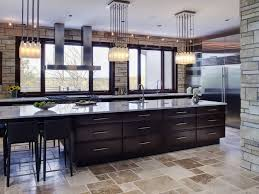 Contemporary Stone Kitchen By Tina Muller With Large Kitchen Island And  Appealing Bottle Pendant Lights
