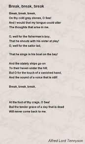 break break break poem by alfred lord tennyson poem hunter