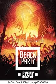 Summer Beach Party Flyer Template - Vector Illustration.