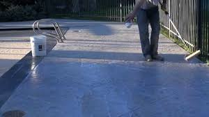 blue stained concrete patio. Perfect Stained How To Stain U0026 Seal An Old Pool Deck And Blue Stained Concrete Patio A