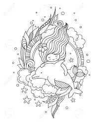 Dolphin Dream Designs Coloring Book Mermaid Swimming Among Seaweed And Clouds With Dolphin Page