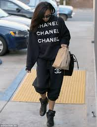 chanel tracksuit. naya rivera dons chanel tracksuit as she indulges in chipotle mexican grill g