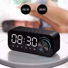 Ayna çalar saat taşınabilir hoparlörler Bluetooth LED dijital ekran çalar  saat kablosuz hoparlör TF müzik çalar masa saati Portable Speakers
