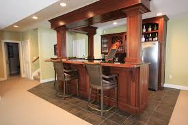 Modest Basement Bar Ideas With Brown Granite Counter Top Combined - Wet basement floor ideas