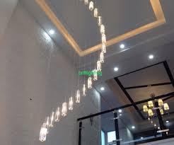 modern black chandeliers for high ceilings modern crystal chandelier stair long spiral crystal
