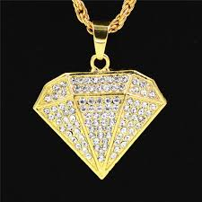whole mens necklace diamond shape hip hop jewelry with iced out chains gold plated pendant necklace stainless steel jewelry best friend necklaces rose