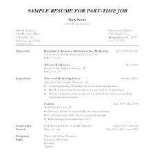 Format Of Resume Letter Resume Writing Samples This Is Part Time Job