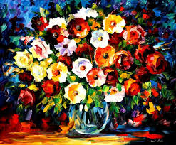 flowers of love palette knife oil painting on canvas by leonid afremov