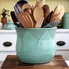 ceramic kitchen utensil holder or jumbo utensil holder in aqua mist 56  vintage ceramic kitchen utensil . ceramic kitchen utensil holder ...