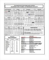 7 Attendance Calendar Templates Free Word Pdf Format