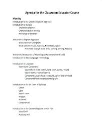 Agenda Format Sample Classroom Course Agenda Example Outline Format Sample For