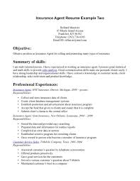Insurance Agent Resume Sample Berathen Com For A Of Y Peppapp