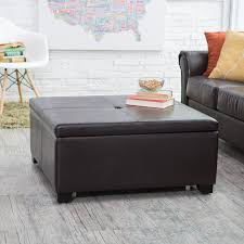 Weston Home Coffee Table Ottoman with 4 Trays in Faux Leather   Hayneedle